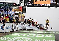 yellow jersey / GC leader Tadej Pogacar (SVN/UAE-Emirates) wins up the mountain top finish up the Col du Portet (HC/2215m)<br /> <br /> Stage 17 from Muret to Saint-Lary-Soulan (Col du Portet)(178km)<br /> 108th Tour de France 2021 (2.UWT)<br /> <br /> ©kramon