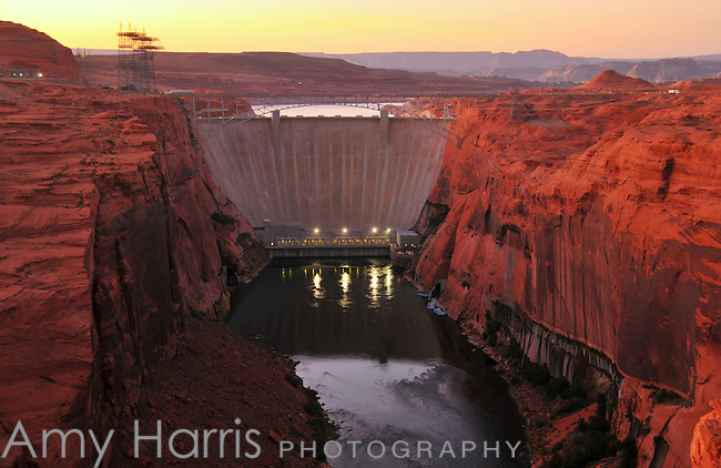 Glen Canyon Dam at sunset on the Colorado River at Page, Arizona.