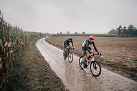 Florian Vermeersch (BEL/Lotto Soudal) followed by Nils Eekhof (NED/DSM)<br /> <br /> 118th Paris-Roubaix 2021 (1.UWT)<br /> One day race from Compiègne to Roubaix (FRA) (257.7km)<br /> <br /> ©kramon