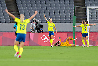 TOKYO, JAPAN - JULY 21: Lina Hurtig #8 of Sweden celebrates her goal during a game between Sweden and USWNT at Tokyo Stadium on July 21, 2021 in Tokyo, Japan.