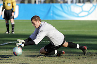 Maryland goalkeeper Chris Seitz makes a first-half save. The University of Maryland defeated the University of New Mexico 1-0 in the NCAA Final at SAS Stadium in Cary, North Carolina, Sunday, December 11, 2005.