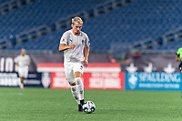 FOXBOROUGH, MA - SEPTEMBER 1: Deri Corfe #9 of FC Tucson dribbles during a game between FC Tucson and New England Revolution II at Gillette Stadium on September 1, 2021 in Foxborough, Massachusetts.