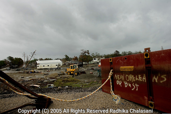 Lakeview, Louisiana-September 23: A humorous sign remains in the Lakeview community along the 17 Street Levee  September 23, 2005 after the area was flooded by a breach in levee after Hurricane Katrina struck. (Photo By Radhika Chalasani/Getty Images)