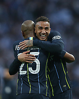 Manchester City's Fernandinho and Danilo celebrate at the end of the game<br /> <br /> Photographer Rob Newell/CameraSport<br /> <br /> Emirates FA Cup Semi-Final - Manchester City v Brighton & Hove Allbion - Saturday 6th April 2019 - Wembley Stadium - London<br />  <br /> World Copyright © 2019 CameraSport. All rights reserved. 43 Linden Ave. Countesthorpe. Leicester. England. LE8 5PG - Tel: +44 (0) 116 277 4147 - admin@camerasport.com - www.camerasport.com