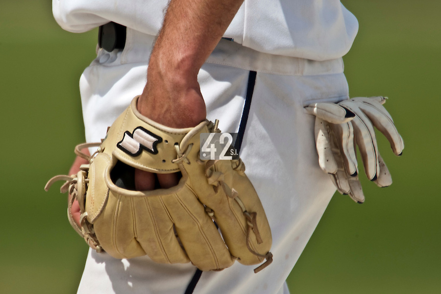 22 May 2009: Close view of a glove during the 2009 challenge de France, a tournament with the best French baseball teams - all eight elite league clubs - to determine a spot in the European Cup next year, at Montpellier, France. Senart wins 7-1 over Montpellier.