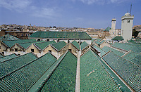 Rooftops of the buildings and mosque of the University of Al-Karaouine, El Bali, Fez, Morocco.