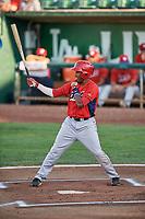 Manuel Guzman (12) of the Orem Owlz bats against the Ogden Raptors at Lindquist Field on September 2, 2017 in Ogden, Utah. Ogden defeated Orem 16-4. (Stephen Smith/Four Seam Images)