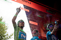 Stage 2 winner & Green Jersey Nairo Quintana (COL/Movistar) at sign-on<br /> <br /> Stage 3: Ibi. Ciudad del Juguete to Alicante (188km)<br /> La Vuelta 2019<br /> <br /> ©kramon