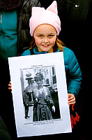 Great Great Great Granddaughter of a Suffrage Activist - On January 21, 2017<br /> the first full day of the new Trump Administration at the Women's March on Washington, Nellie carried a photo of her great great great grandmother Louisiane Havemeyer, who co-founded the National Women's Party in 1913 with Alice Paul. Havemeyer was arrested outside the White House of President Wilson protesting for the right of women to vote in February 1919.