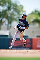 Atlanta Braves Cristian Pache (7) running the bases during an Instructional League game against the Baltimore Orioles on September 25, 2017 at Ed Smith Stadium in Sarasota, Florida.  (Mike Janes/Four Seam Images)