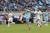 SAINT PAUL, MN - MAY 1: Michael Boxall #15 of Minnesota United FC goes for the ball during a game between Austin FC and Minnesota United FC at Allianz Field on May 1, 2021 in Saint Paul, Minnesota.