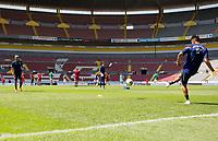 GUADALAJARA, MEXICO - MARCH 18: Julian Araujo #2 and Sebastian Saucedo #10 of the United States warming up before a game between Costa Rica and USMNT U-23 at Estadio Jalisco on March 18, 2021 in Guadalajara, Mexico.