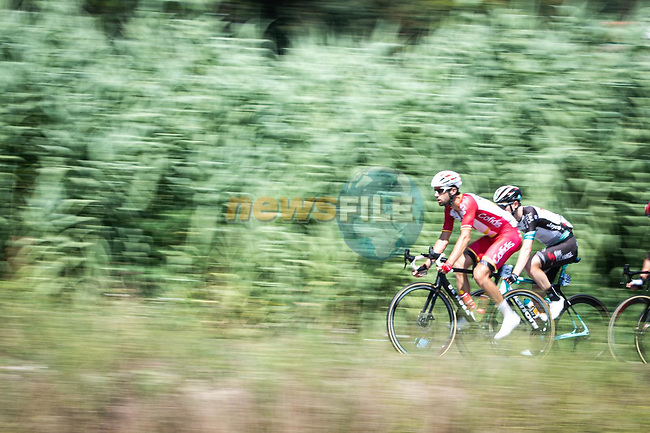 The breakaway during Stage 20 of La Vuelta d'Espana 2021, running 202.2km from Sanxenxo to Mos, Spain. 4th September 2021.    <br /> Picture: Charly Lopez/Unipublic | Cyclefile<br /> <br /> All photos usage must carry mandatory copyright credit (© Cyclefile | Unipublic/Charly Lopez)