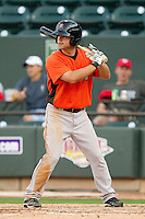 Travis Adair (3) of the Frederick Keys at bat against the Winston-Salem Dash at BB&T Ballpark on May 28, 2013 in Winston-Salem, North Carolina.  The Dash defeated the Keys 17-5 in the first game of a double-header.  (Brian Westerholt/Four Seam Images)