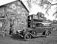 F00139M.tiff    Model A Ford Van at antique gas station and store front. Near Monroe, OR