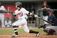 Lansing Lugnuts shortstop Bo Bichette (10) hits a home run during the Midwest League baseball game against the Bowling Green Hot Rods on June 29, 2017 at Cooley Law School Stadium in Lansing, Michigan. Bowling Green defeated Lansing 11-9 in 10 innings. (Andrew Woolley/Four Seam Images)