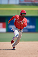 Philadelphia Phillies Nicolas Torres (19) at bat during an Instructional League game against the Toronto Blue Jays on September 17, 2019 at Spectrum Field in Clearwater, Florida.  (Mike Janes/Four Seam Images)