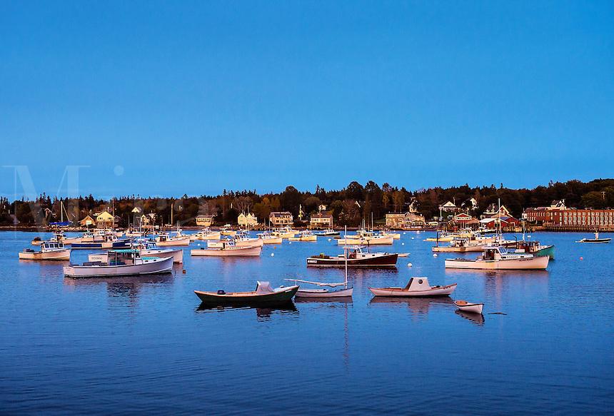 Lobster boats in harbor, Bernard, Maine, USA