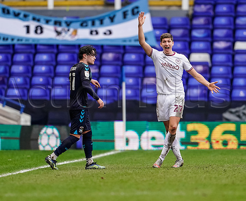 20th February 2021; St Andrews Stadium, Coventry, West Midlands, England; English Football League Championship Football, Coventry City v Brentford; Vitaly Janelt of Brentford asks for a throw-in decision