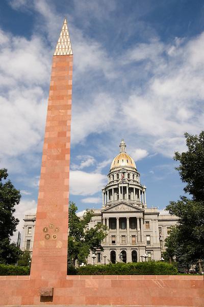 Colorado State Capitol and WWII memorial, Denver, Colorado, USA John offers private photo tours of Denver, Boulder and Rocky Mountain National Park.