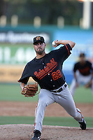 Shane Zegarac of the Bakersfield Blaze during game against the Lake Elsinore Storm at The Diamond in Lake Elsinore,California on July 25, 2010. Photo by Larry Goren/Four Seam Images