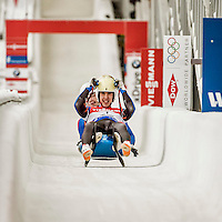 4 December 2015: Jakub Simonak and Marek Solcansky, sliding for Slovakia, cross the finish line after their second run, finishing 19th for the day with a combined time of 1:31.194 in the Doubles Competition of the Viessmann Luge World Cup at the Olympic Sports Track in Lake Placid, New York, USA. Mandatory Credit: Ed Wolfstein Photo *** RAW (NEF) Image File Available ***