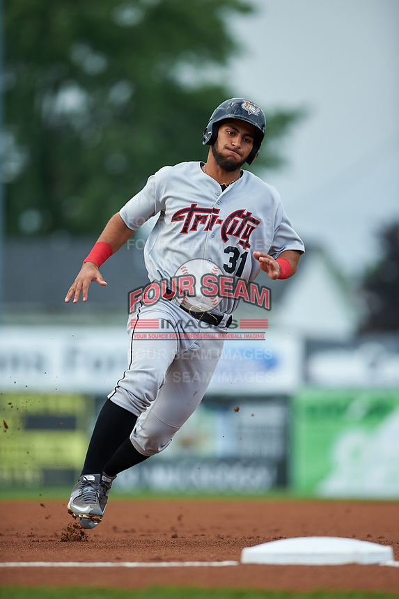 Tri-City ValleyCats third baseman Abraham Toro-Hernandez (31) runs the bases during a game against the Batavia Muckdogs on July 14, 2017 at Dwyer Stadium in Batavia, New York.  Batavia defeated Tri-City 8-4.  (Mike Janes/Four Seam Images)