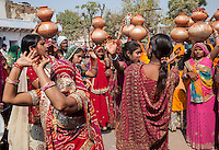 Rajasthan, India.  Women Dancing at a Pre-wedding Celebration.