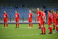 Woluwe players pictured during one minute silence before  a female soccer game between FC Femina WS Woluwe and RSC Anderlecht Women on the eight match day of the 2020 - 2021 season of Belgian Women's Super League , Sunday 22nd of November 2020  in Woluwe, Belgium . PHOTO SPORTPIX.BE | SPP | SEVIL OKTEM