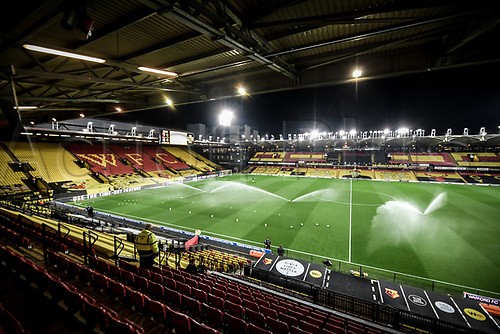 4th November 2020; Vicarage Road, Watford, Hertfordshire, England; English Football League Championship Football, Watford versus Stoke City; A general view of the Vicarage Road stadium ahead of Kick Off.