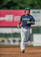 12 July 2015: Vermont Lake Monsters shortstop Richie Martin rounds the bases after hitting a 2-run homer in the 3rd inning against the West Virginia Black Bears at Centennial Field in Burlington, Vermont. Martin, the first round pick for the Oakland Athletics organization, drafted 20th overall, helped the Lake Monsters come back from a 4-0 deficit to defeat the Black Bears 5-4 in NY Penn League action. Mandatory Credit: Ed Wolfstein Photo *** RAW Image File Available ****