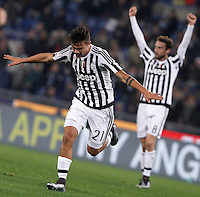 Calcio, Serie A: Lazio vs Juventus. Roma, stadio Olimpico, 4 dicembre 2015.<br /> Juventus' Paulo Dybala celebrates after scoring during the Italian Serie A football match between Lazio and Juventus at Rome's Olympic stadium, 4 December 2015.<br /> UPDATE IMAGES PRESS/Isabella Bonotto