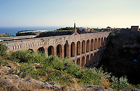 A Roman Aqueduct in Spain. ancient, functional architecture. Spain.