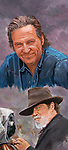 A smiling Jeff Bridges in portrait with a cameo the Rooster Cogburn character he played. Oil on canvas 16x35.