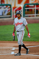 Satchel McElroy (21) of the Billings Mustangs at bat against the Orem Owlz in Pioneer League action at Home of the Owlz on July 25, 2016 in Orem, Utah. Orem defeated Billings 6-5. (Stephen Smith/Four Seam Images)