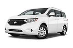 Stock pictures of low aggressive front three quarter view of 2017 Nissan Quest S 5 Door Minivan Low Aggressive
