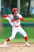Second Baseman Hou Fenglian (16) of the China National Team during a game vs. the Houston Astros Instructional League team at Holman Stadium in Vero Beach, Florida September 28, 2010.   China is in Florida training for the Asia games which will be played in Guangzhou, China in November.  Photo By Mike Janes/Four Seam Images