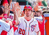 9 July 2017: Washington Nationals All-Star second baseman Daniel Murphy is greeted in the dugout after scoring Washington's 6th run in the 5th inning against the Atlanta Braves at Nationals Park in Washington, DC. The Nationals defeated the Atlanta Braves to split their 4-game series going into the All-Star break. Mandatory Credit: Ed Wolfstein Photo *** RAW (NEF) Image File Available ***