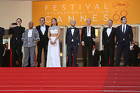 Actor Jared Harris, actor Jean Reno, actress Charlize Theron, actor Javier Bardem, actor Hopper Penn, actress Adele Exarchopoulos, director Sean Penn, actor Zubin Cooper and producer Matt Palmieri attends 'The Last Face' Premiere during the 69th annual Cannes Film Festival at the Palais des Festivals on May 20, 2016 in Cannes, France.