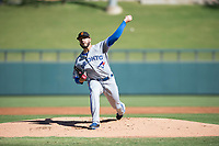 Surprise Saguaros starting pitcher Shawn Morimando (53), of the Toronto Blue Jays organization, delivers a pitch during an Arizona Fall League game against the Salt River Rafters at Salt River Fields at Talking Stick on November 5, 2018 in Scottsdale, Arizona. Salt River defeated Surprise 4-3 . (Zachary Lucy/Four Seam Images)