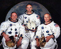 (MAY 1969) --- The National Aeronautics and Space Administration (NASA) has named these three astronauts as the prime crew of the Apollo 11 lunar landing mission. Left to right, are Neil A. Armstrong, commander; Michael Collins, command module pilot; and Edwin E. Aldrin Jr., lunar module pilot.