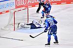 Mirko Höfflin (Nr.10 - ERC Ingolstadt) trifft zum 2:1 gegen Torwart Mathias Niederberger (Nr.35 - Eisbären Berlin), Tim Wohlgemuth (Nr.33 - ERC Ingolstadt)  beim Spiel im Halbfinale der DEL, ERC Ingolstadt (dunkel) - Eisbaeren Berlin (hell).<br /> <br /> Foto © PIX-Sportfotos *** Foto ist honorarpflichtig! *** Auf Anfrage in hoeherer Qualitaet/Aufloesung. Belegexemplar erbeten. Veroeffentlichung ausschliesslich fuer journalistisch-publizistische Zwecke. For editorial use only.