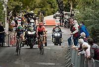 Ide Schelling (NED/BORA - hansgrohe) & Alessandro De Marchi (ITA/CCC) up the infamous Mur de Huy<br /> <br /> 84th La Flèche Wallonne 2020 (1.UWT)<br /> 1 day race from Herve to Mur de Huy (202km/BEL)<br /> <br /> ©kramon