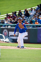 South Bend Cubs first baseman Jhonny Pereda (13) waits to receive a throw during a game against the Kane County Cougars on May 3, 2017 at Four Winds Field in South Bend, Indiana.  South Bend defeated Kane County 6-2.  (Mike Janes/Four Seam Images)