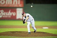 Idaho Falls Chukars relief pitcher Ted Cillis (24) follows through on his delivery during a Pioneer League game against the Billings Mustangs at Melaleuca Field on August 22, 2018 in Idaho Falls, Idaho. The Idaho Falls Chukars defeated the Billings Mustangs by a score of 5-3. (Zachary Lucy/Four Seam Images)