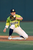 Second baseman Chandler Avant (5) of the Columbia Fireflies waits for the throw from second during an attempted steal in a game against the Augusta GreenJackets on Friday, May 31, 2019, at Segra Park in Columbia, South Carolina. Augusta won, 8-6. (Tom Priddy/Four Seam Images)