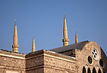 July 2010, LEBANON: The rooftop of the Mohammad al-Amin Mosque in Downtown rises up above the Cathedral of Saint George.   Picture by Graham Crouch