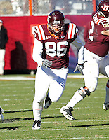 Nov 27, 2010; Charlottesville, VA, USA;  Virginia Tech Hokies tight end Eric Martin (86) during the game at Lane Stadium. Virginia Tech won 37-7. Mandatory Credit: Andrew Shurtleff