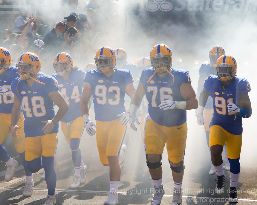 Pitt takes the field. The North Carolina Wolfpack defeated the Pitt Panthers 35-17 at Heinz Field, Pittsburgh, PA on October 14, 2017.