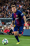 Lucas Digne of FC Barcelona in action during the La Liga 2017-18 match between FC Barcelona and Malaga CF at Camp Nou on 21 October 2017 in Barcelona, Spain. Photo by Vicens Gimenez / Power Sport Images